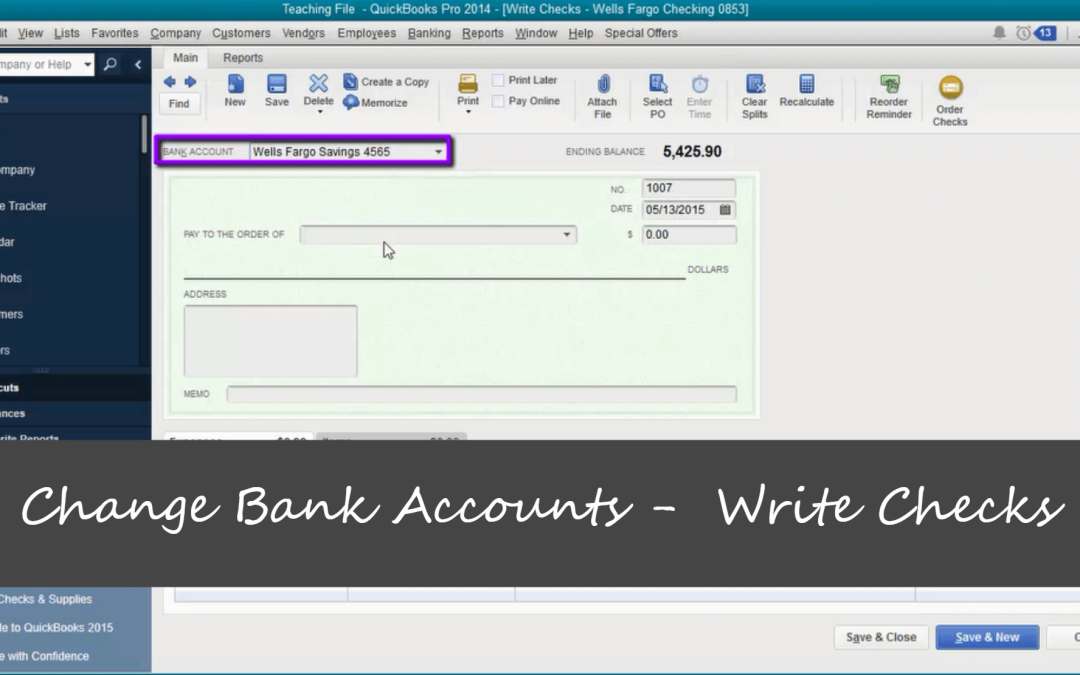 Change Bank Accounts When Writing Checks