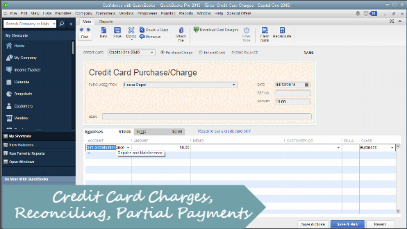 How to Enter Credit Card Charges, Reconcile, Payments in QuickBooks