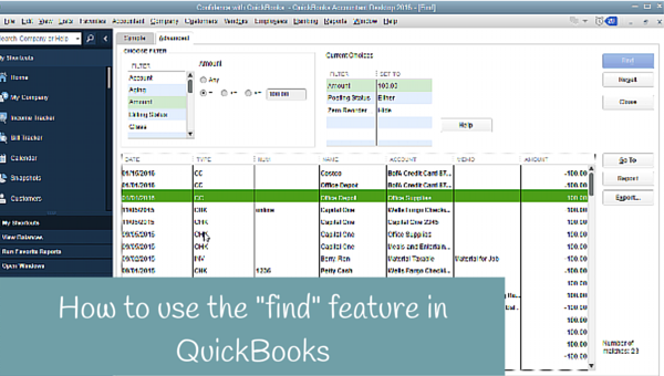 "How to use the ""find"" feature in QuickBooks"