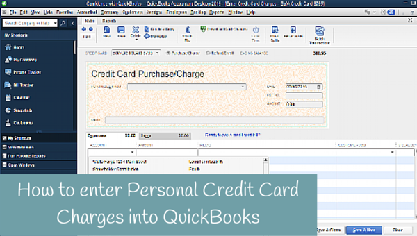 How to enter Personal Credit Card Charges in QuickBooks