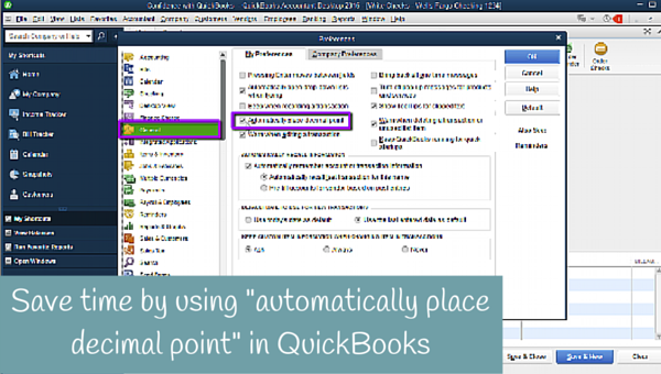 "Save time by using ""automatically place decimal point"" in QuickBooks"