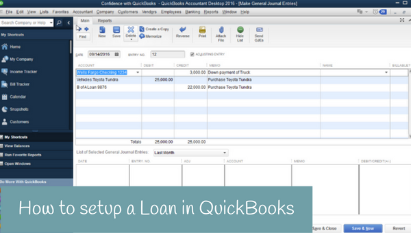 How to setup a Loan in QuickBooks