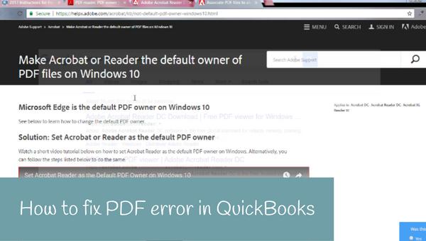 How to fix PDF error in QuickBooks