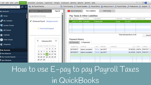 How to use E-pay to pay Payroll Taxes in QuickBooks