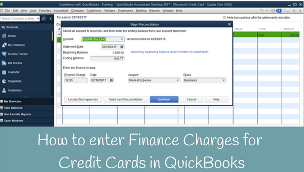 How to enter Finance Charges for Credit Cards in QuickBooks