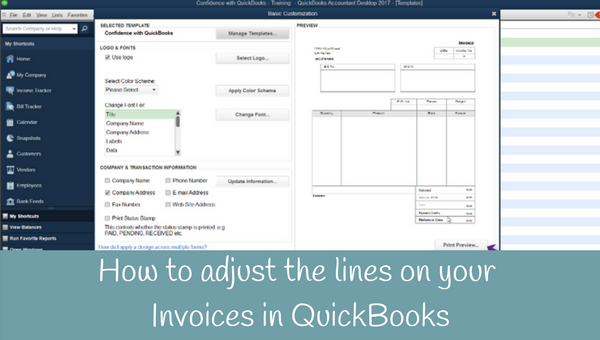 How to adjust the lines on your Invoices in QuickBooks