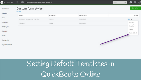 Setting Default Templates for Invoices in QuickBooks Online