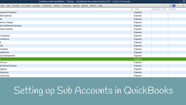 How to Setup Sub Accounts in QuickBooks