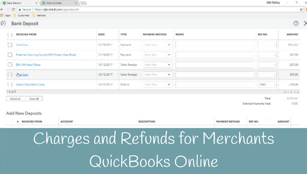How to enter charges and refund for Merchants in QuickBooks Online