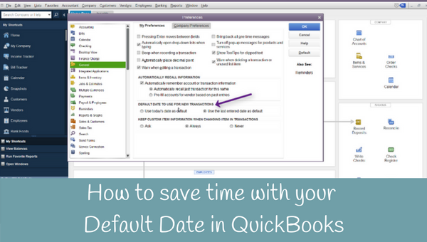 How to save time with your default date in QuickBooks