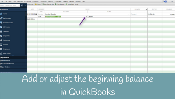 How to add or adjust the beginning balance in a bank account or credit card in QuickBooks