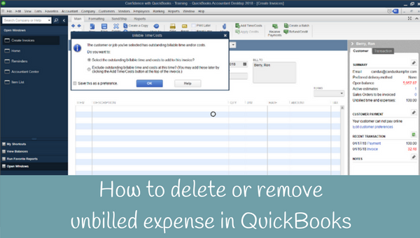 How to delete unbilled time or cost in QuickBooks
