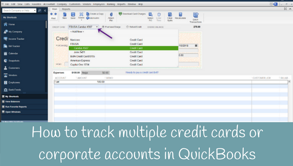 How to track multiple or corporate credit card accounts in QuickBooks