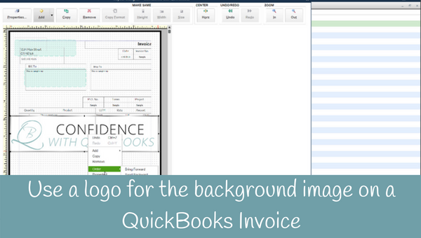 How to choose a logo as the background image on an invoice in QuickBooks