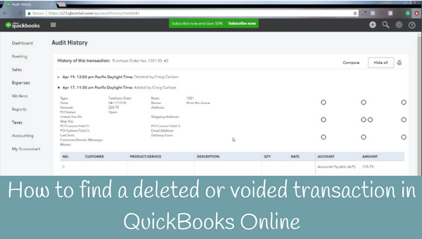 How to find a deleted or voided transaction in QuickBooks Online