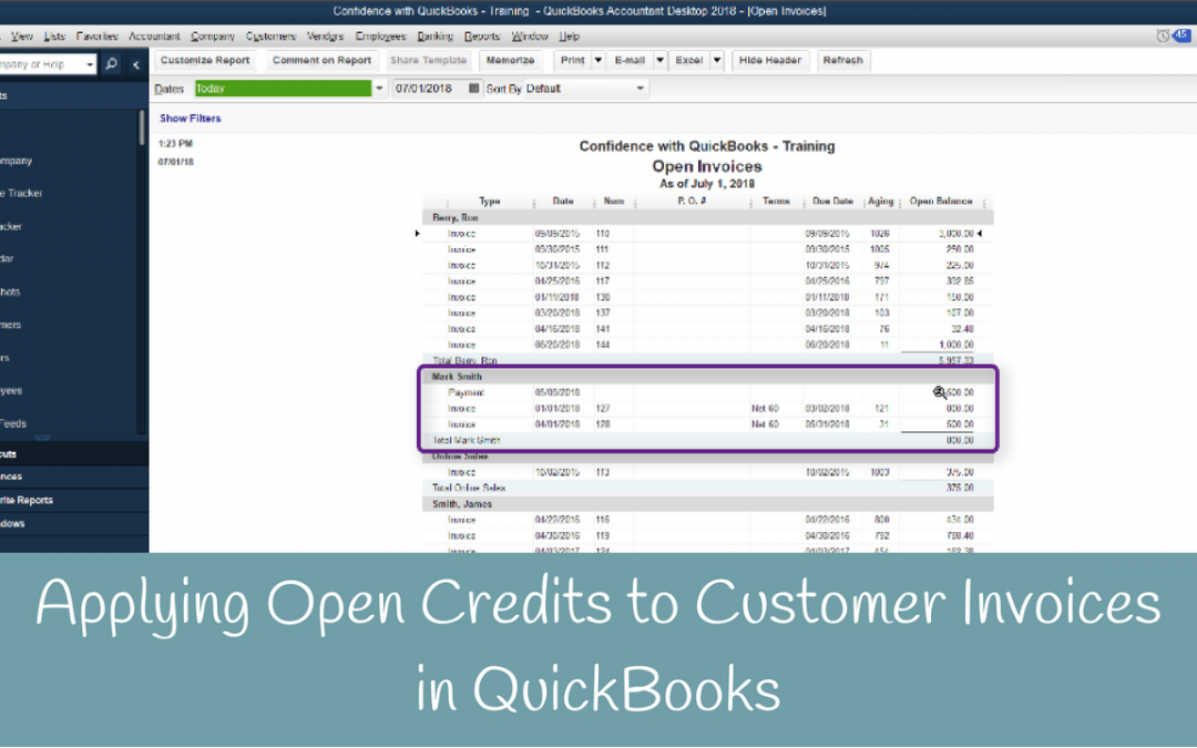 Applying Open Credits to Customer Invoices in QuickBooks