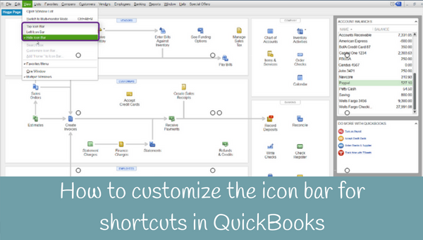 How to customize the icon bar for shortcuts in QuickBooks