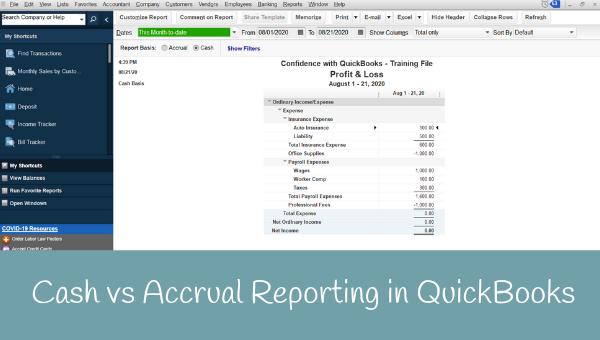 Cash vs Accrual Reporting in QuickBooks